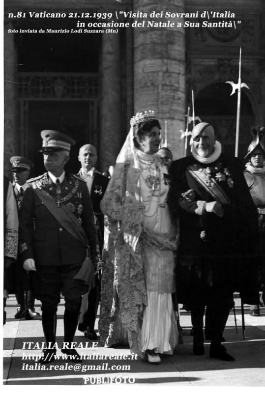 Vittorio Emanuele III e Elena in Vaticano in occasione del Natale