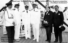 Principe Umberto di Savoia sulla nave da guerra argentina